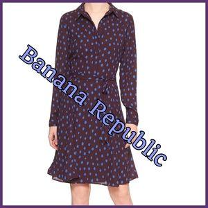 🍇 Banana Republic Printed Tie Dress Sz 6 🍇